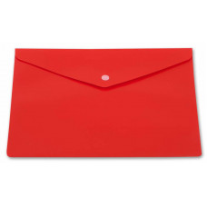 Конверт на кнопке Бюрократ -PK804A5NRED (A5, пластик, непрозрачный, толщина пластика 0,18мм, красный) [PK804A5NRED]