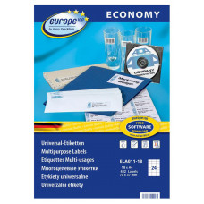 Этикетки Europe100 (A4, односторонняя, 18 листов, белый, накл: 24шт, 70x37,1мм) [ELA011-18]
