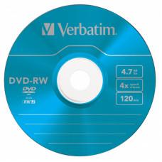 Диск DVD-RW Verbatim (4.7Гб, 4x, slim case, 5) [43563]