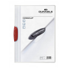 Папка с фигурным клипом Durable Swingclip 226003 (верхний лист полупрозрачный, A4, вместимость 1-30 листов, красный) [226003]