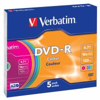 Диск DVD-R Verbatim (4.7Гб, 16x, slim case, 5) [43557]