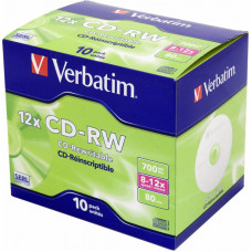 Диск CD-RW Verbatim (0.68359375Гб, 12x, jewel case, 10) [43148]