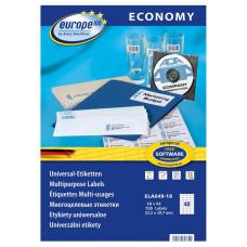 Этикетки Europe100 (A4, односторонняя, 18 листов, белый, накл: 40шт, 52,5x29,7мм) [ELA049-18]