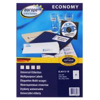 Этикетки Europe100 (A4, односторонняя, 18 листов, белый, накл: 21шт, 70x42,3мм) [ELA013-18]