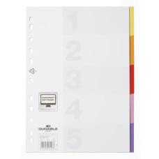 Разделитель индексный Durable 6732-27 (A4, пластик, кол-во индексов 5) [6732-27]